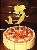 Mermaid Cupcake Topper, Set of 12 Golden Glitter Mermaid Cupcake Toppers -Cupcake Topper Birthday Decoration