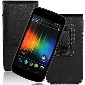 Caselink® Patrón de Litchi Funda de Cuero con Clip de Cinturón Cubierta del caso del Diseño para Samsung Galaxy Nexus I9250 (Negro)