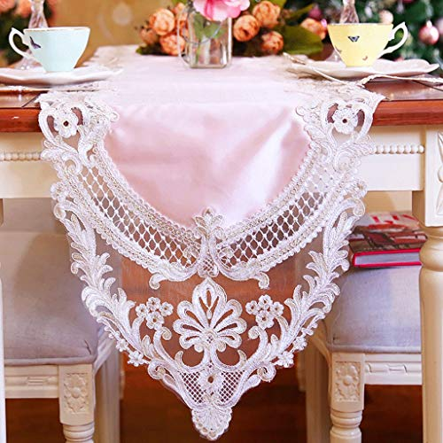 Price comparison product image WENJUN Vintage Natural Jute Table Runners Imitated Linen Table Runner Rustic Wedding Home Décor Natural Imitated Lace Table Runner for Wedding Party Decoration (Color : Pink,  Size : 38280cm)