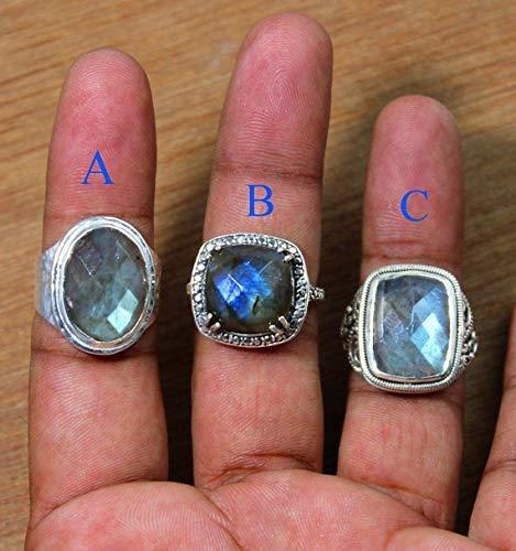 - Men's Ring Fire Labradorite 925 sterling silver ring men & women jewelry oval shape ring checker cut ring Designer band ring