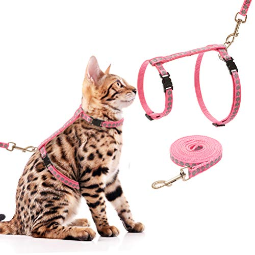 SCIROKKO Cat Harness and Leash Set - Escape Proof Adjustable for Outdoor Walking with Safety Buckle, Pink Paw