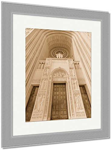 Ashley Framed Prints Washington D C Basilica Of The National Shrine Catholic Church, Wall Art Home Decoration, Sepia, 40x34 (frame size), Silver Frame, AG6556627 by Ashley Framed Prints