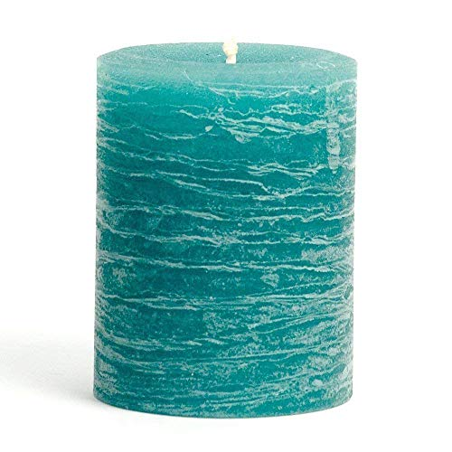 (Nordic Candle - Rustic Pillar Candle - 3x4 Inch Teal - Unscented )