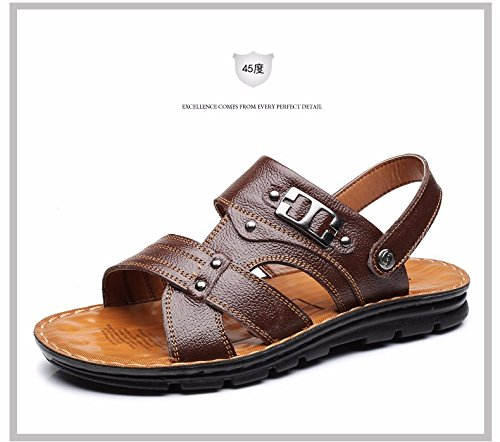 Sommer Das neue Echtleder Sandalen Männer Trend Schuhe Männer Lässige Schuhe Jugend Rutschfest Dualer Gebrauch Strandschuhe ,braun,US=9.5?UK=9,EU=43 1/3?CN=45
