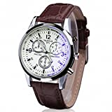 ABC® Men's Luxury Fashion Faux Leather Mens Blue Ray Glass Quartz Analog Watches
