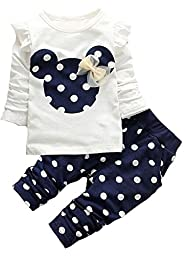 Little Girls Cute Cartoon Bowknot Long Shirts Tees & Pants 2 Pcs Sets 18-24Months Blue