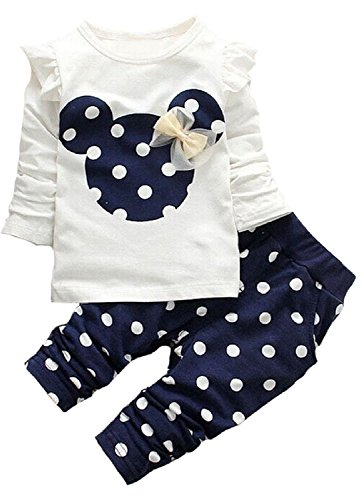 [Little Girls Cute Cartoon Bowknot Long Shirts Tees & Pants 2 Pcs Sets 12-18Months Blue] (Pajamas Dance Costumes)