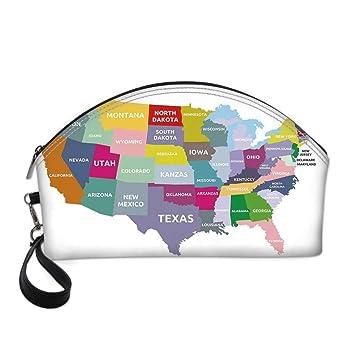 Map Small Portable Cosmetic Bag, USA Map ... - Amazon.com