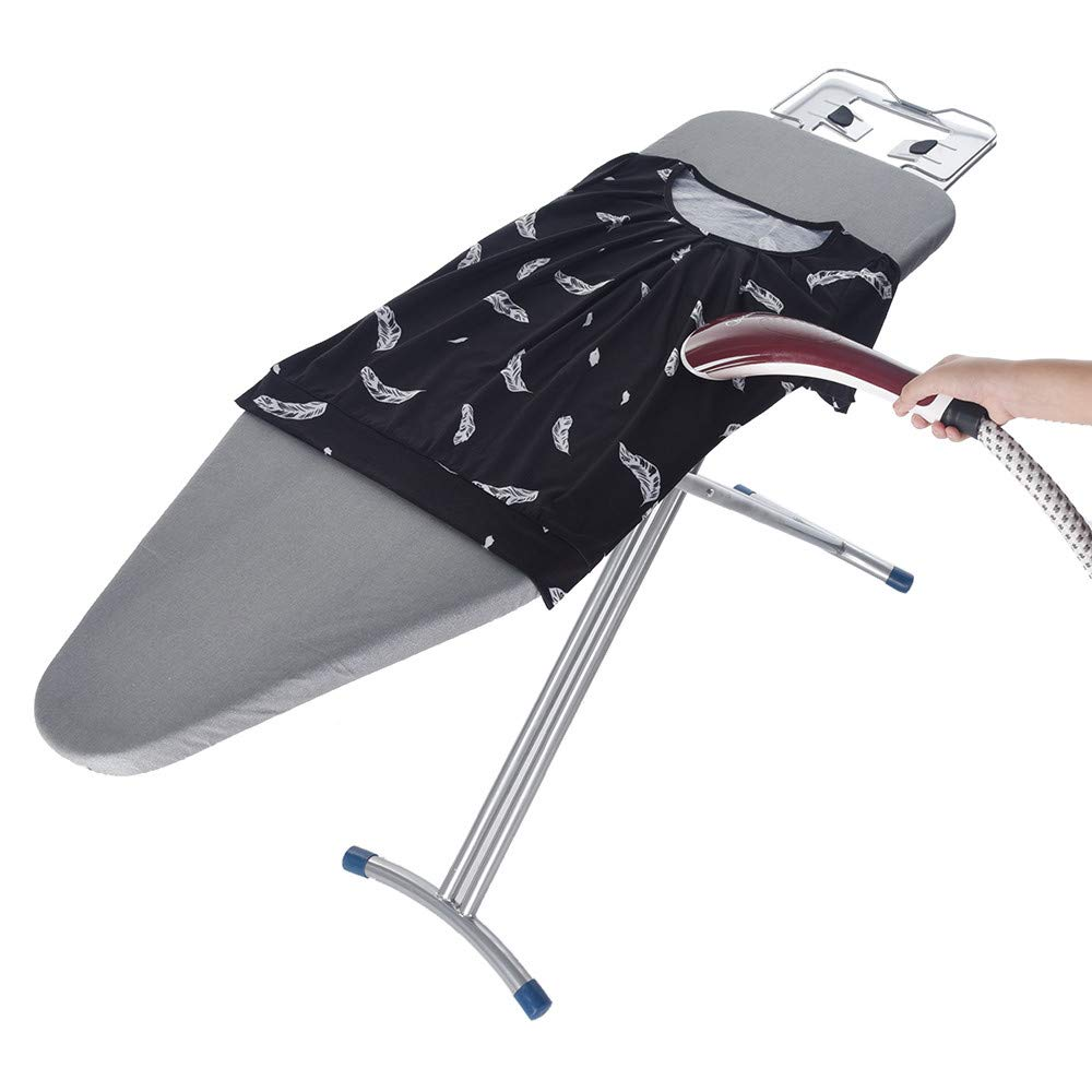 Anferstore T-Leg Adjustable Height Ironing Board, Ironing Pro Board Grey Extra Cover - 48 x 15