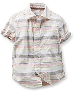 Boy's Button-Front Shirt, Striped, 4 Kids