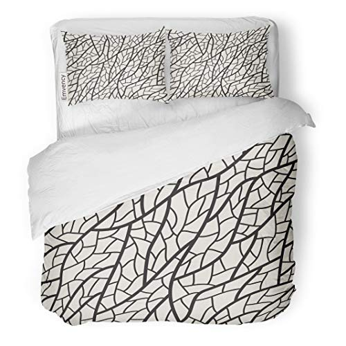 Semtomn Decor Duvet Cover Set Twin Size Cell Leaf Veins Pattern Structure Abstract 3 Piece Brushed Microfiber Fabric Print Bedding Set -
