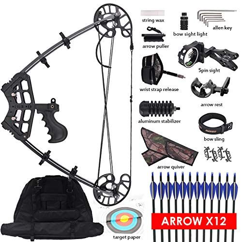 XGeek Triangle Compound Bow for Adults - Right & Left Hand Hunting Bow for Beginner | Draw Length 27