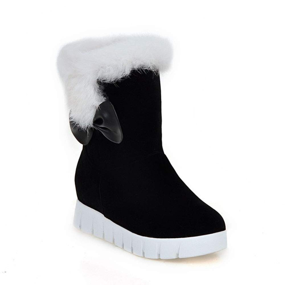 TWGDH Faux Suede Ankle Stiefel Ladies Warm Fur Lined Lined Lined Slip-On Round Toe Flat Schuhe Outdoor Walking Casual Snow Stiefelie  bf964c