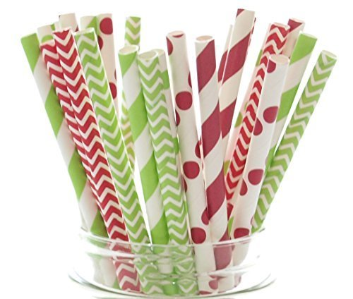 Christmas Party Supplies - Christmas Straws, Red & Green Holiday Straws, Vintage Party Supplies, Santa Red & Elf Green Straws, 25 Pack - December Christmas Straws