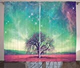 Ambesonne Night Sky Curtains, Red Alien Planet Landscape with Tree Over with Many Stars Image, Living Room Bedroom Window Drapes 2 Panel Set, 108 W X 108 L Inches, Light Yellow Blue and Pink Review