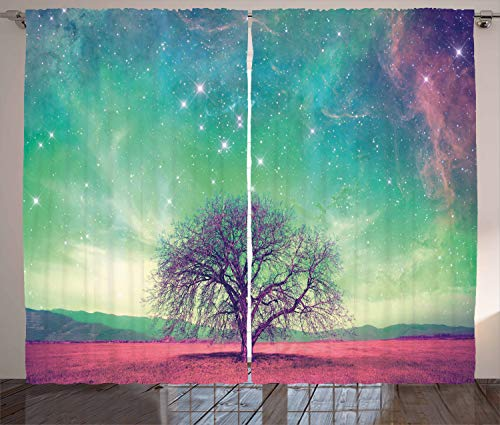 Ambesonne Night Sky Curtains, Red Alien Planet Landscape with Tree Over with Many Stars Image, Living Room Bedroom Window Drapes 2 Panel Set, 108 W X 108 L Inches, Light Yellow Blue and Pink