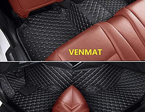 VENMAT Car Floor Mats Tailored for Chrysler 300//300C//300S 10th Gen Sedan 2004-2010 Auto Foot Carpets Faux Leather All Weather Waterproof 3D Full Surrounded Anti Slip Car Rugs Black with Red Stitch