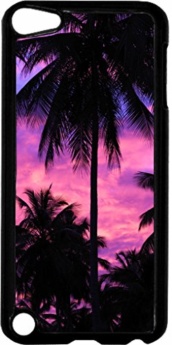 (Purple Palm Tree Silhouette Sunset Jacks Outlet TM Hard Black Plastic Case for the Apple iPod Touch 6th Generation)