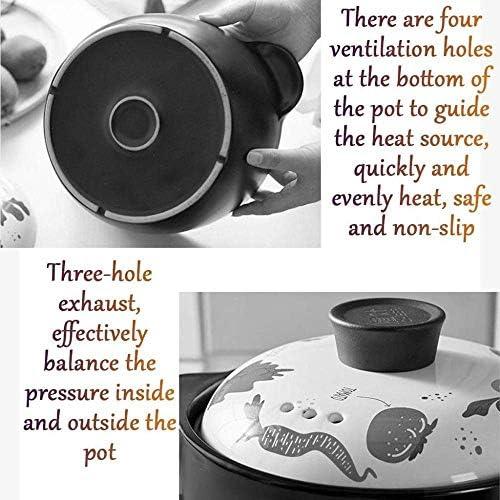UWY Casserole Pot Pot à ragoût en Terre Cuite Casserole en céramique - Robuste et Durable, améliore la Nutrition, Conserve la température et Le goût-capacité 3000ML_Pink