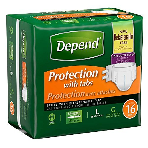 - Depend Protection with Tabs Maximum Briefs, Large, Case/64 (4/16s)