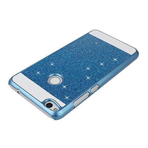 2PCS Huawei P8 Lite 2017 Cáscara, Huawei P8 Lite 2017 Funda Protectora, Moon mood® Duro PC Bling Cristal Glittar Caso Trasero Cubierta Teléfono Concha Estuche Back Case Cover Phone Shell Bumper Protec Azul