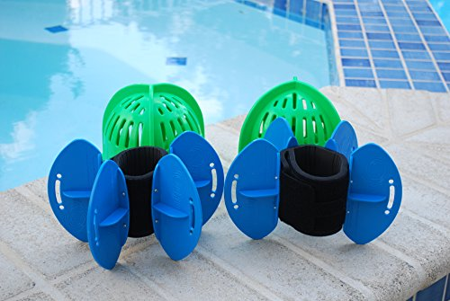 Aqualogix Total Body Aquatic Exercise System (High Speed Green Bells/Maximum Resistance Blue Fins) by AquaLogix