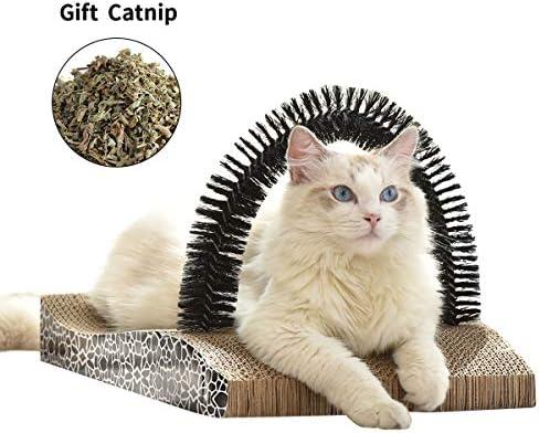 FUKUMARU Pet Fur Grooming Cat Scratching Pads,Cats Self Groomer Massager Scratcher Toy Brush 2