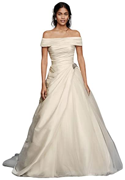 Davids Bridal Jewel Taffeta Wedding Dress With Brooch Style WG3796 Ivory