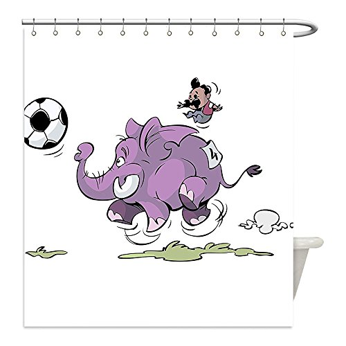 [Liguo88 Custom Waterproof Bathroom Shower Curtain Polyester Elephants Decor Elephant Is Playing Soccer With A Kid Mario Moustache Sports Decor Football Print Decor Purple White Decorative bathroom] (Mario Turtle Shell Costume)
