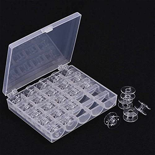 abbort 25Pcs Empty Bobbins Sewing Machine Spools Clear Plastic with Case Storage Box for Brother Janome Singer Elna