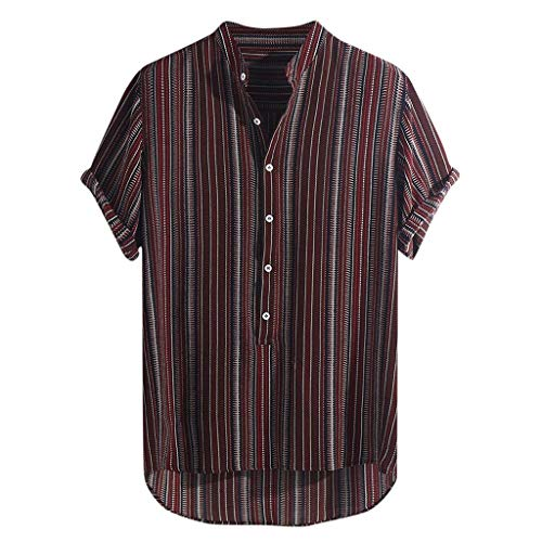 JJLIKER Hawaiian Shirts for Men Short Sleeve Regular Fit Striped Floral Shirts Summer Tees Tops with Pockets Wine Red ()