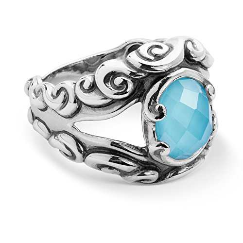 Silver Ring Scroll Borders - Carolyn Pollack - Sterling Silver Turquoise Doublet Split Band Ring - 8 - Lasting Connections Collection