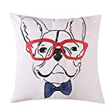Loom & Mill Decorative Throw Pillow Covers, Comfortable Cotton Pillow Cases, Dog Pattern Embroidery Cushion Cover for 18 X 18 Inch Pillow Inserts - White, French Bulldog Pattern