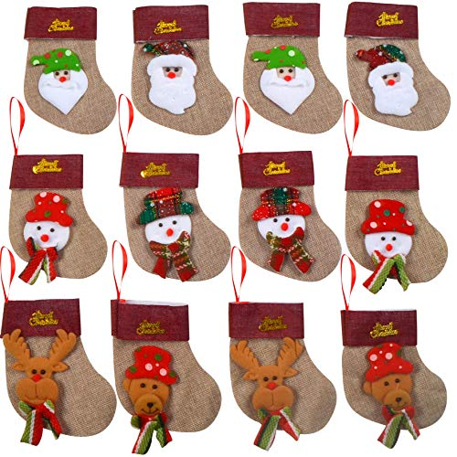 JOYIN Set of 12 Mini Christmas 3D Stocking Gift & Treat Bags(6 1/4) for Christmas Tree Decoration
