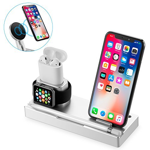 NEXGADGET 6 in 1 Aluminum Stand Compatible Apple Watch/AirPods/iPad/Apple Pencil,Detachable Wireless Charger Replacement iPhone X/8/8 Plus All Qi-Enabled Device by NEXGADGET