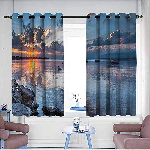 Mdxizc Polyester Curtain Landscape Sun Rising at Lake Geneva Children's Bedroom Curtain W63 xL63 Suitable for Bedroom,Living,Room,Study, etc.