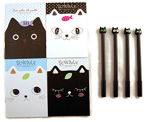 Cat Lover's Gift: 4 Cute Black Cat Pens and 4 Adorable Ruled Mini Notebooks / Pocket Notepads 51HVCGov6vL