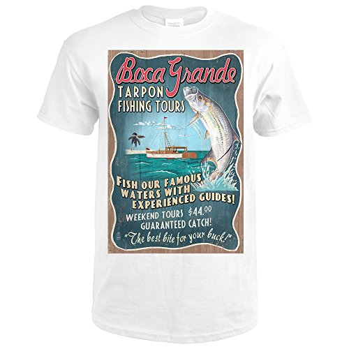Boca Grande, Florida - Tarpon Fishing Tours Vintage Sign (Premium White T-Shirt - Shops Boca Park