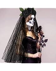 E-More Halloween hoofdband met zwarte kanten sluiers, elastische rozenbloemenhaarband, zwarte rozen, mesh, haarsieraad, Halloween Ghost Bride Party hoofdtooi voor meisjes en dames
