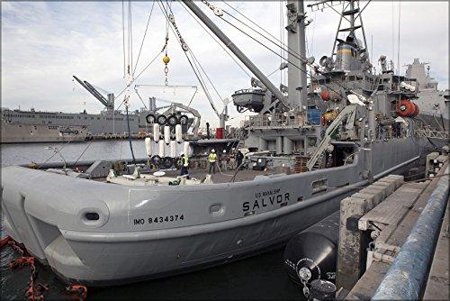 Usn Naval Ship - 24x36 Poster . Usns Salvor, Salvage Ship, At Naval Base San Diego