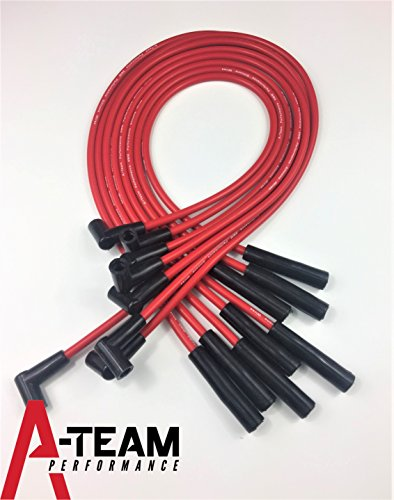 A-Team Performance 8.0mm Red Silicone Spark Plug Wires Set BBC Big Block Compatible With Chevy Chevrolet GMC Straight Boot Wires 396 402 427 454 502 572