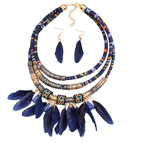 XY Fancy Feather Pendant Multi Layers Tribal Bib Necklace Statement Earring Jewelry Set ()