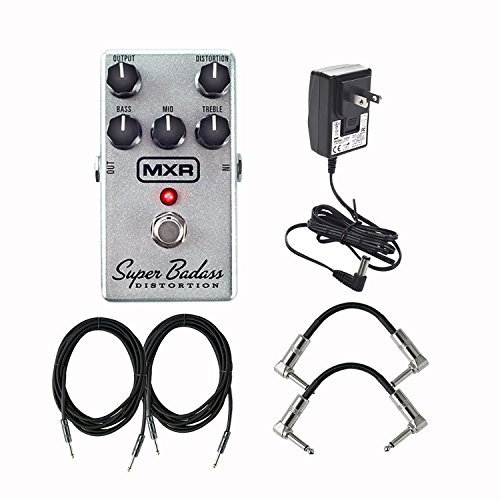 (Dunlop MXR M75 Super Badass Distortion Effects Pedal With a Pair of Patch Cables, Power Supply and Instrument Cables)