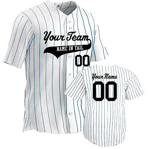 Custom Sleeveless Pinstripe Baseball Jersey 6 Button | White and Navy | Adult 2X-Large