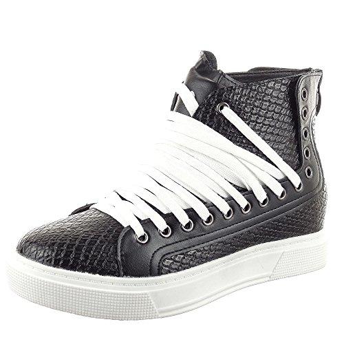 Sopily - damen Mode Schuhe Sneaker Keilabsatz Reißverschluss Schlangenhaut - Schwarz