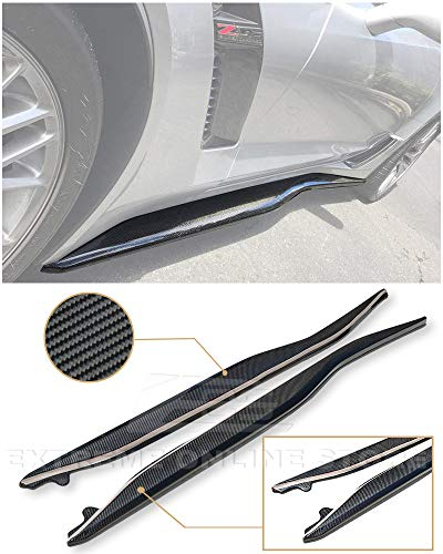 for 2014-Present Corvette C7 EOS Z06 Performance Package Style Carbon Fiber Side Skirt Rocker Panels Extension
