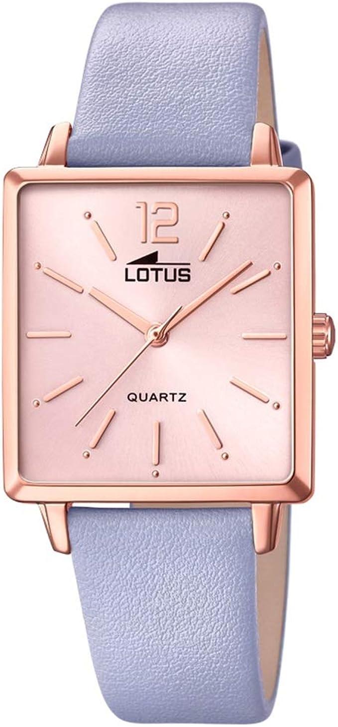 LOTUS. Reloj Trendy Oro con Esfera Cuadrada y Pulsera de