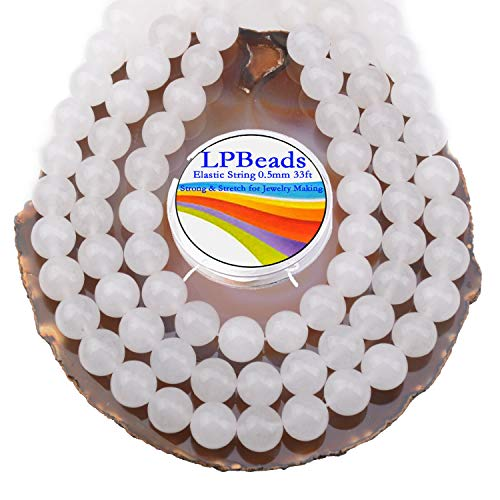 LPBeads 80Pcs Polished 10mm Round Natural White Jade Gemstone Loose Beads with Stretch Cord for Jewelry Making Bracelets