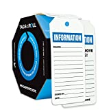 Accuform TAR720 Tags By-The-Roll Inspection and Status Record Tags, Legend''INFORMATION'', 6.25'' Length x 3'' Width x 0.010'' Thickness, PF-Cardstock, Blue/Black on White (Pack of 100)