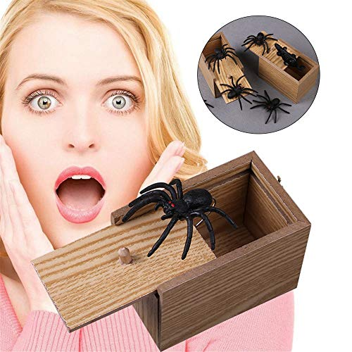 FOONEE Spider Prank Box, Hilarious Wooden Box Toy Prank, Surprise Box with Spider Funny Money Gift Box Surprise Toy, and Christmas Gag Gift Prank for Boys, Girls, -